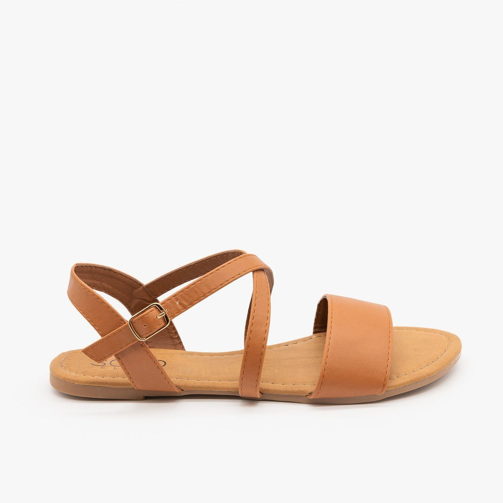 Womens Comfy Criss Cross Slingback Sandals - Soho Girls - Tan / 5