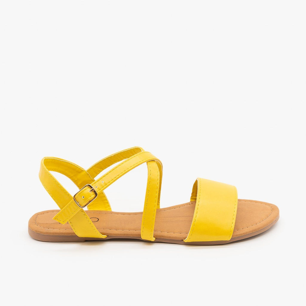Womens Comfy Criss Cross Slingback Sandals - Soho Girls - Mustard / 5
