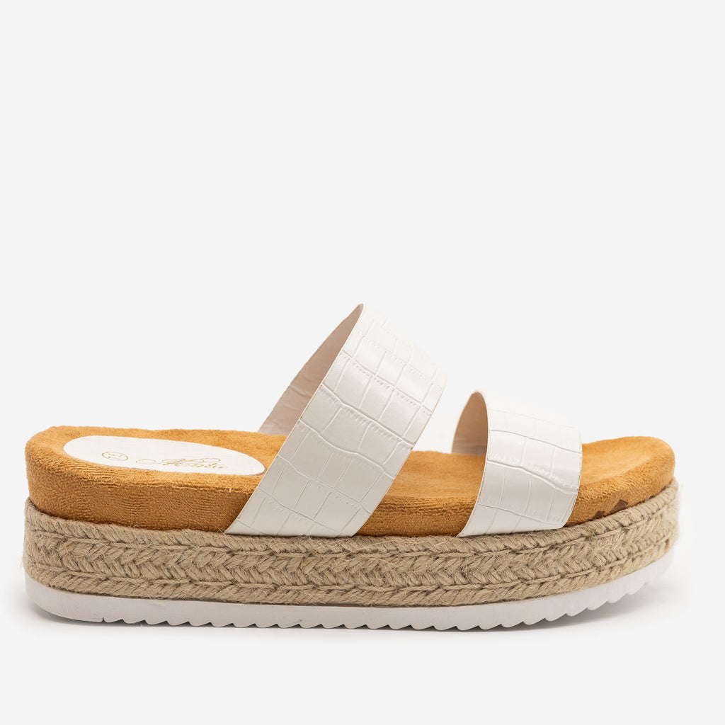 Women's Comfy Crocodile Espadrille Flatform Sandals - Mata - White Crocodile / 5