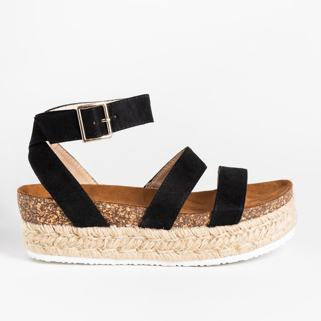 Womens Comfy Double Strap Espadrille Flatforms - Bella Marie - Black / 5