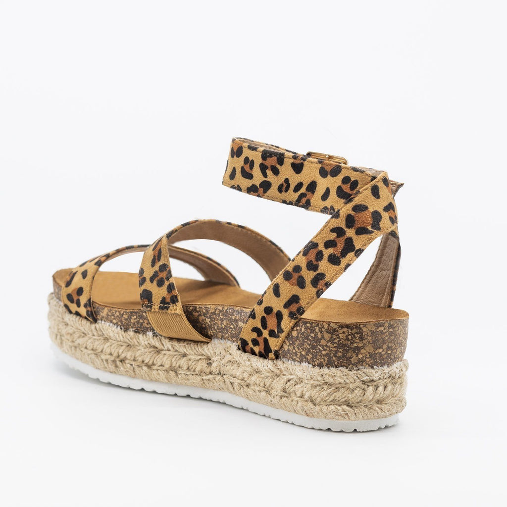 Womens Comfy Double Strap Espadrille Flatforms - Bella Marie