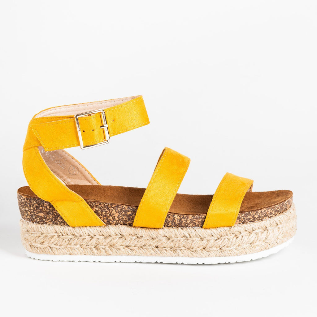 Womens Comfy Double Strap Espadrille Flatforms - Bella Marie - Mustard / 5