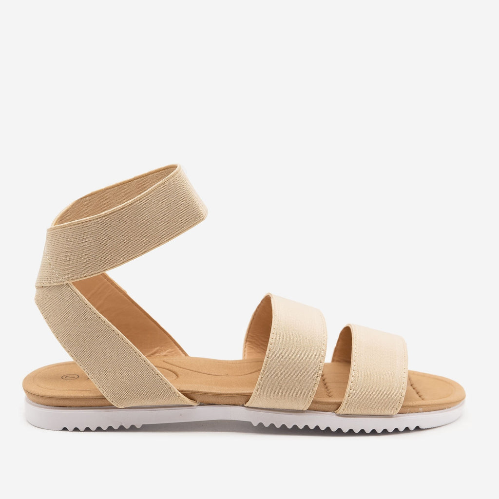 Women's Comfy Elastic Band Sandals - Anna Shoes - Beige / 5