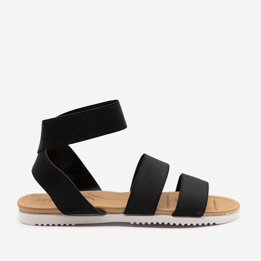 Women's Comfy Elastic Band Sandals - Anna Shoes - Black / 5