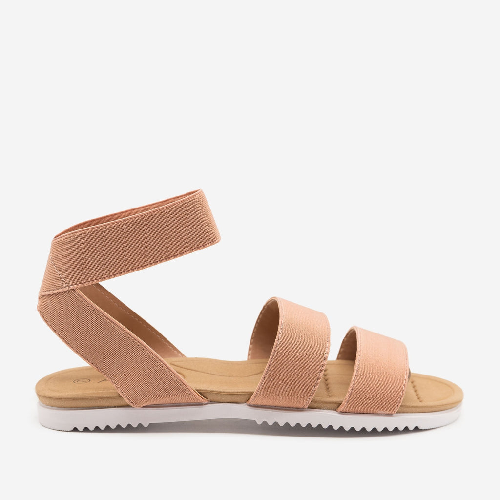 Women's Comfy Elastic Band Sandals - Anna Shoes - Mauve / 5