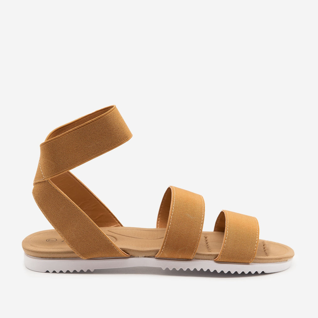 Women's Comfy Elastic Band Sandals - Anna Shoes - Tan / 5