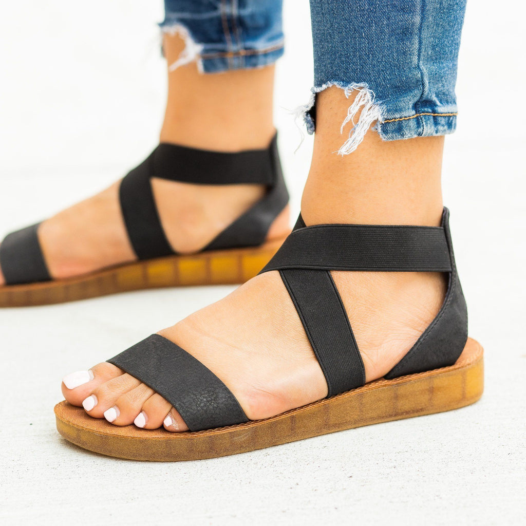 Womens Comfy Elastic Criss Cross Sandals - Forever