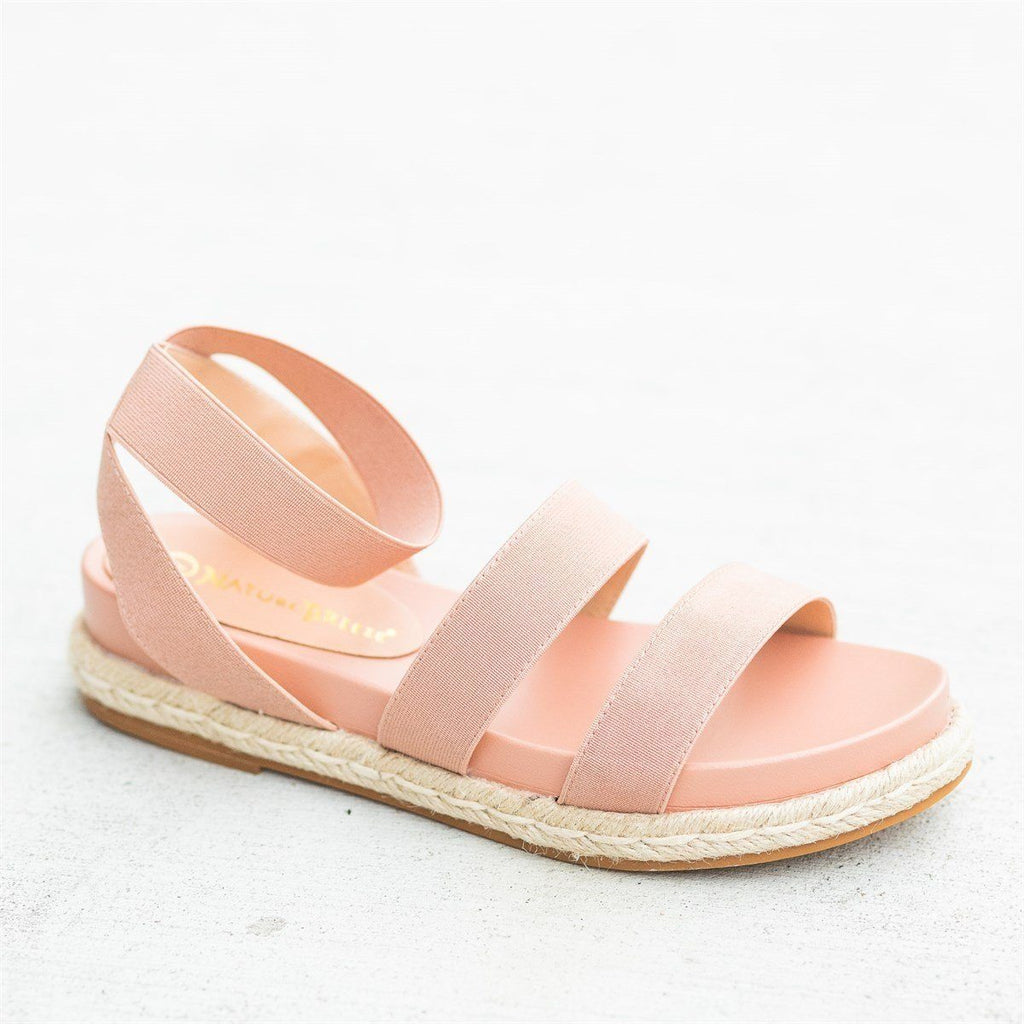Womens Comfy Elastic Esparto Trim Sandals - Nature Breeze - Pink / 5