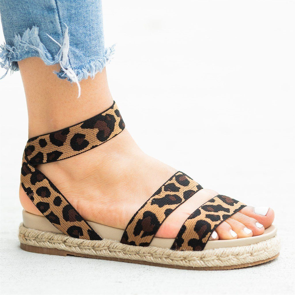 Womens Comfy Elastic Esparto Trim Sandals - Nature Breeze - Leopard / 5