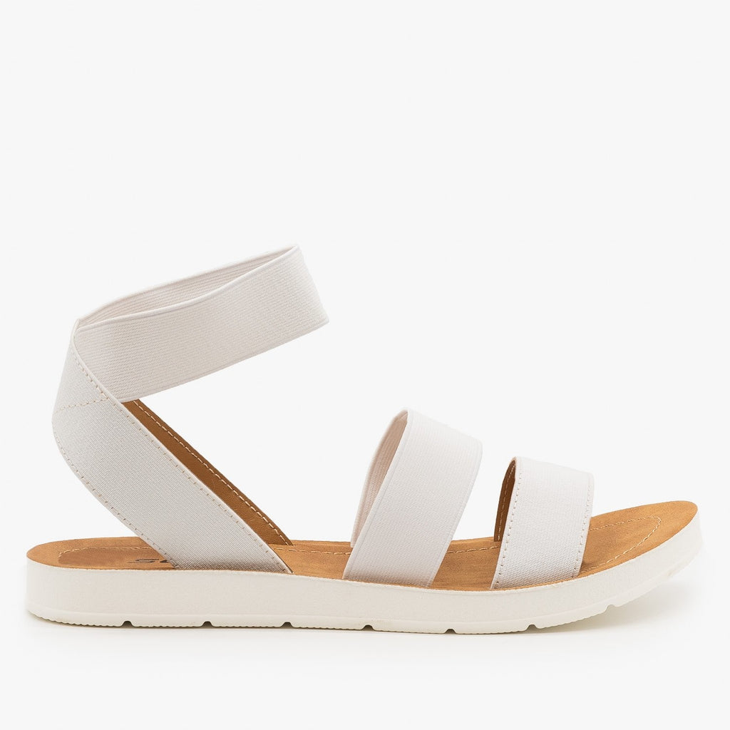 Womens Comfy Elastic Sandals - Soda Shoes - White / 5