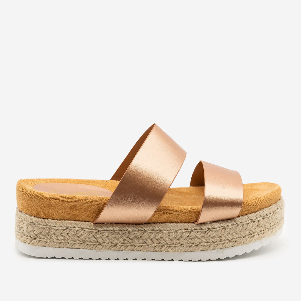 Women's Comfy Espadrille Flatform Sandals - Mata - Rose Gold / 5