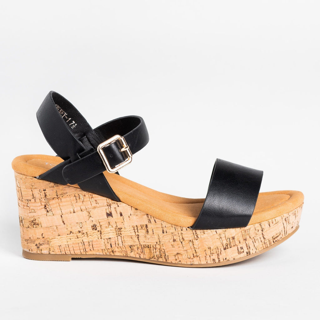 Womens Comfy Everyday Cork Sandal Wedges - Top Moda - Black / 5