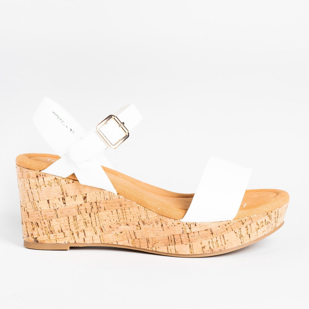 Womens Comfy Everyday Cork Sandal Wedges - Top Moda - White / 5