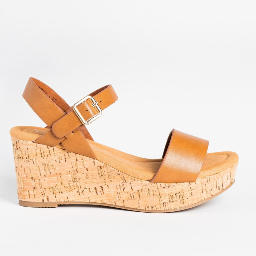 Womens Comfy Everyday Cork Sandal Wedges - Top Moda - Tan / 5