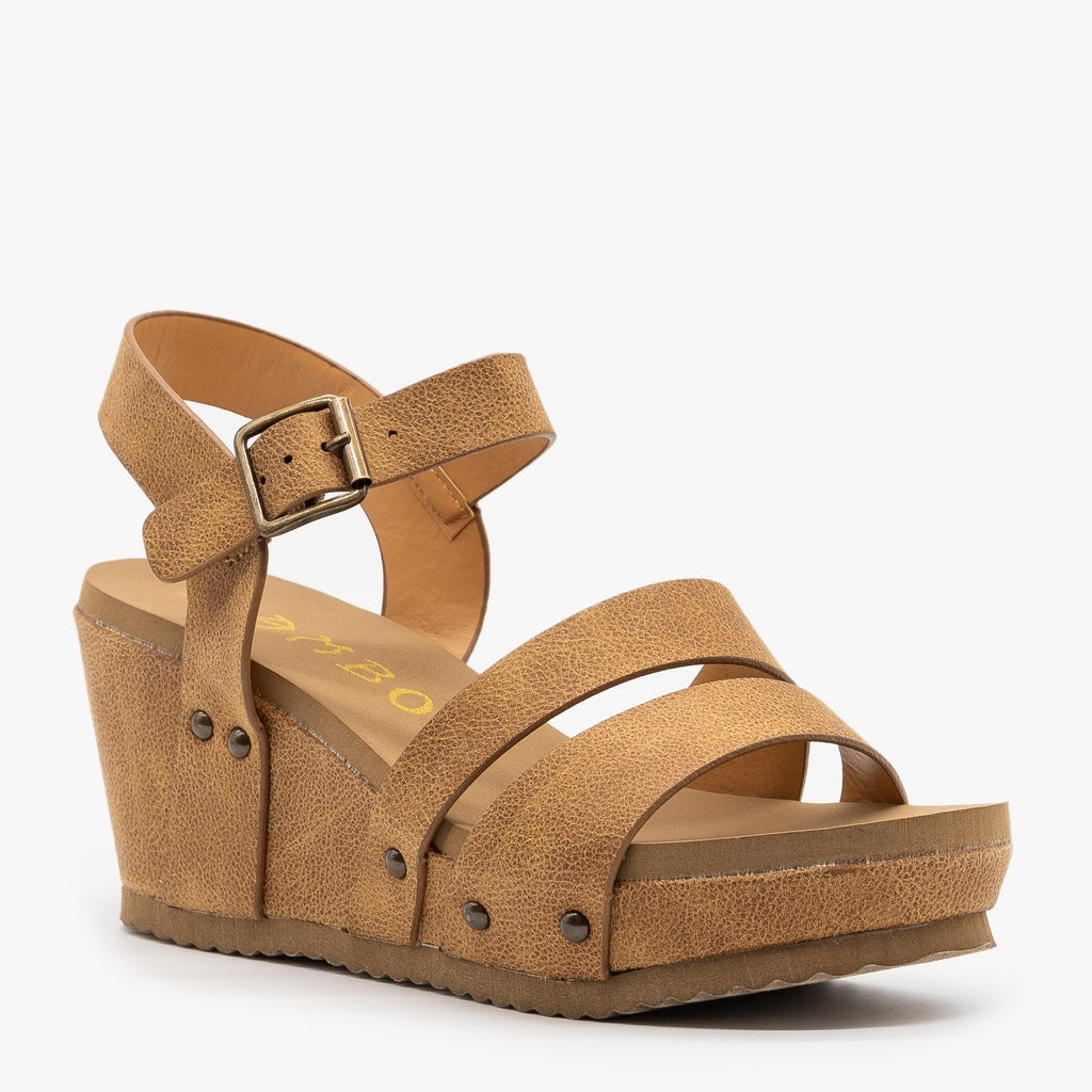 Womens Comfy Faux Leather Sandal Wedges - Bamboo Shoes