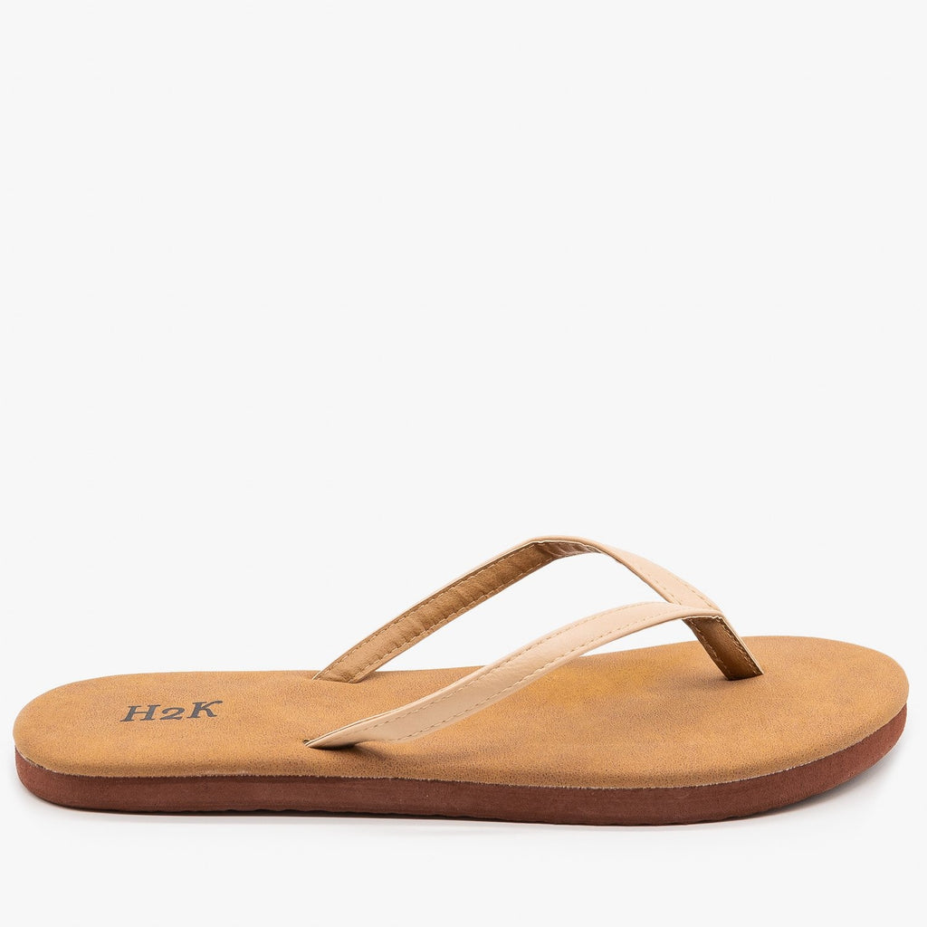 Womens Comfy Flip Flop Sandals - H2K Shoes - Nude / 5