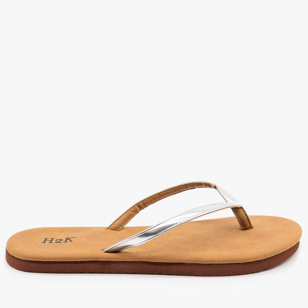 Womens Comfy Flip Flop Sandals - H2K Shoes - Silver / 5