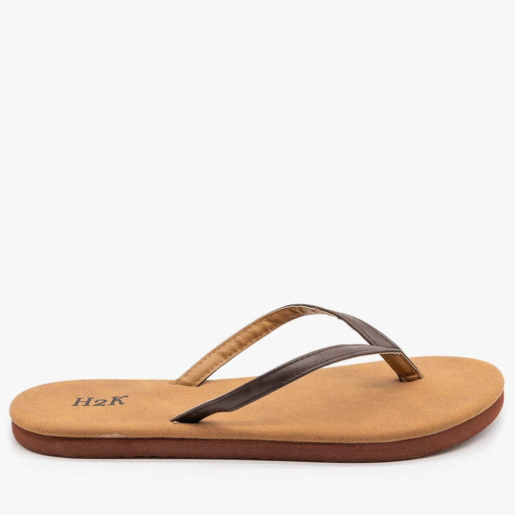 Womens Comfy Flip Flop Sandals - H2K Shoes - Brown / 5
