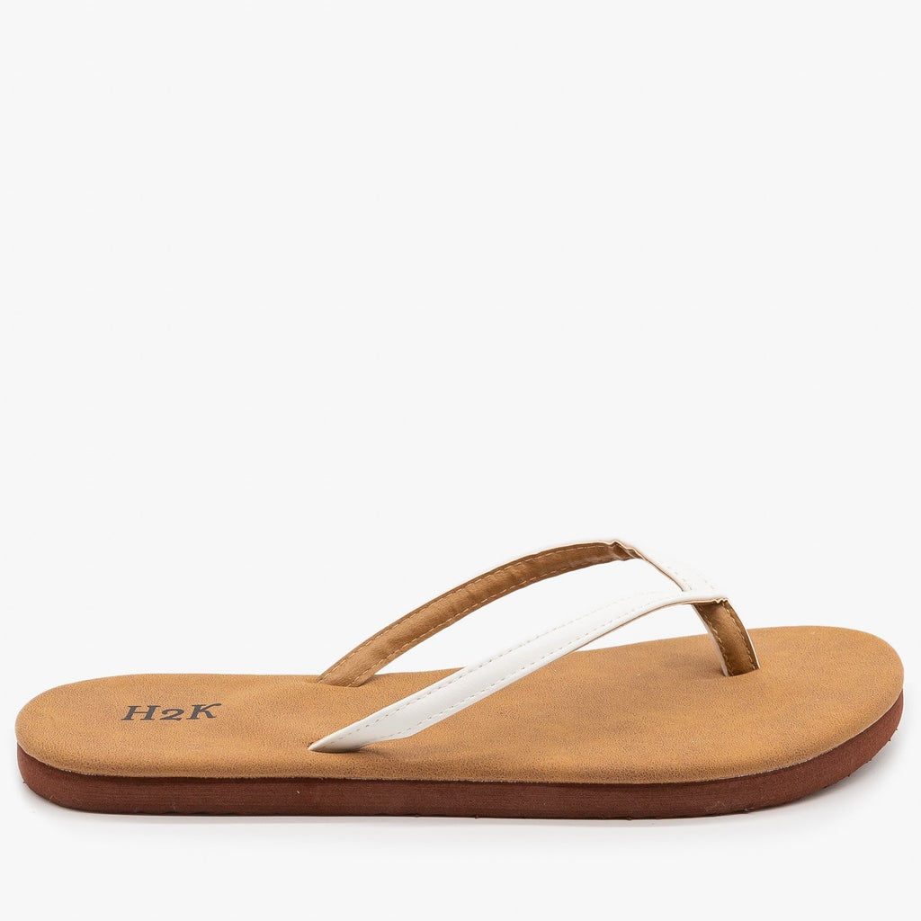 Womens Comfy Flip Flop Sandals - H2K Shoes - White / 5