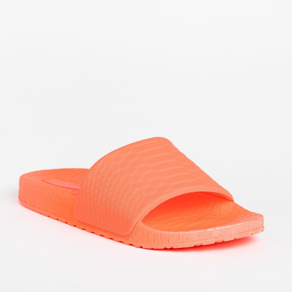 Womens Comfy Foam Neon Slides - Forever - Orange / 5