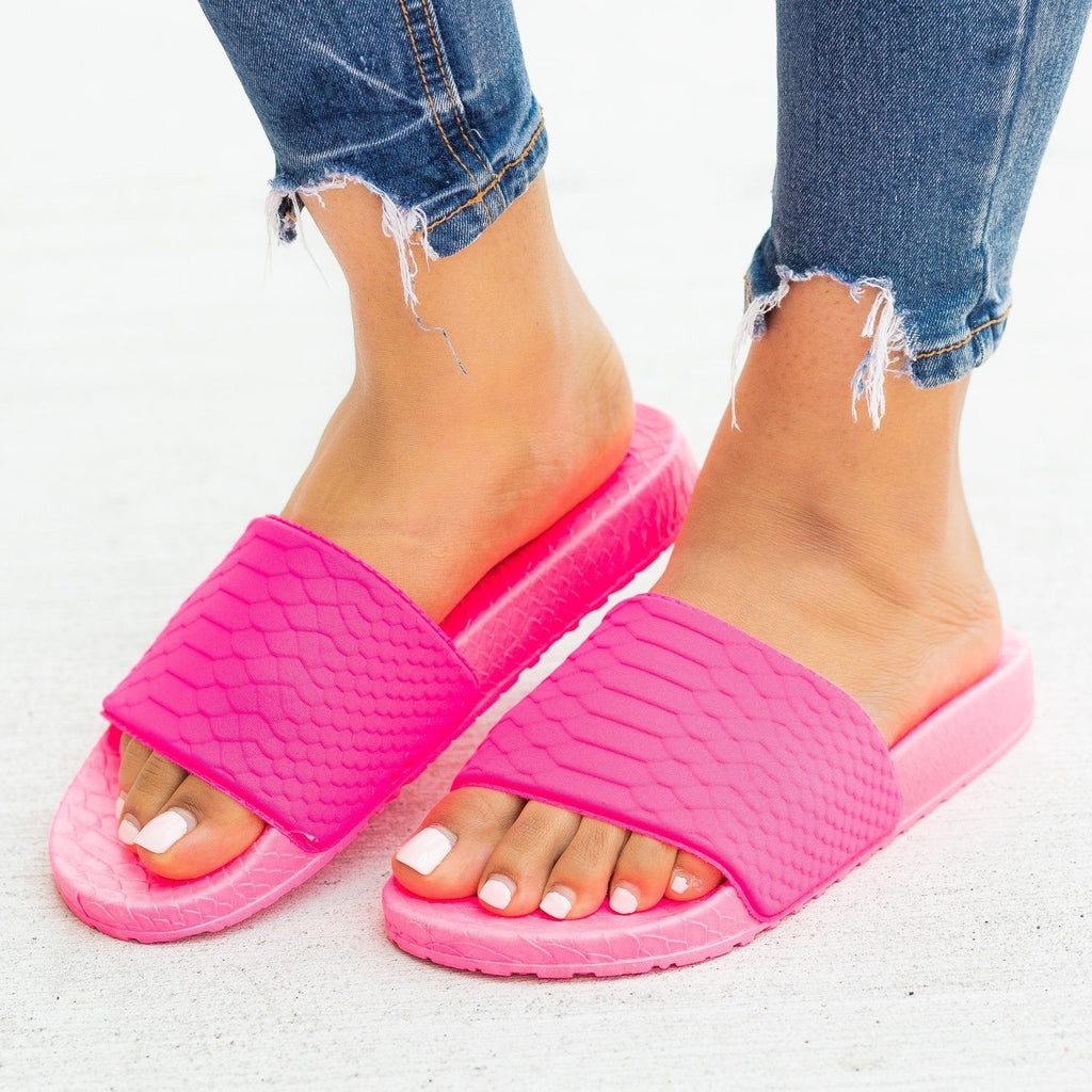 Womens Comfy Foam Neon Slides - Forever