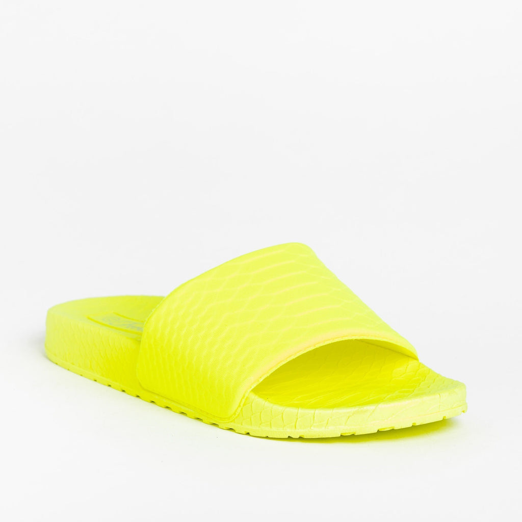 Womens Comfy Foam Neon Slides - Forever - Yellow / 5