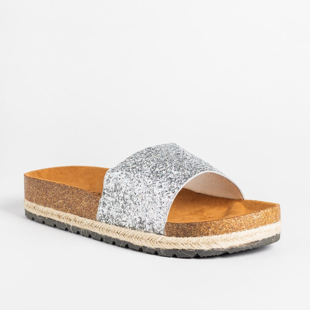 Womens Comfy Glitter Cork Slides - Anna Shoes - Silver / 5