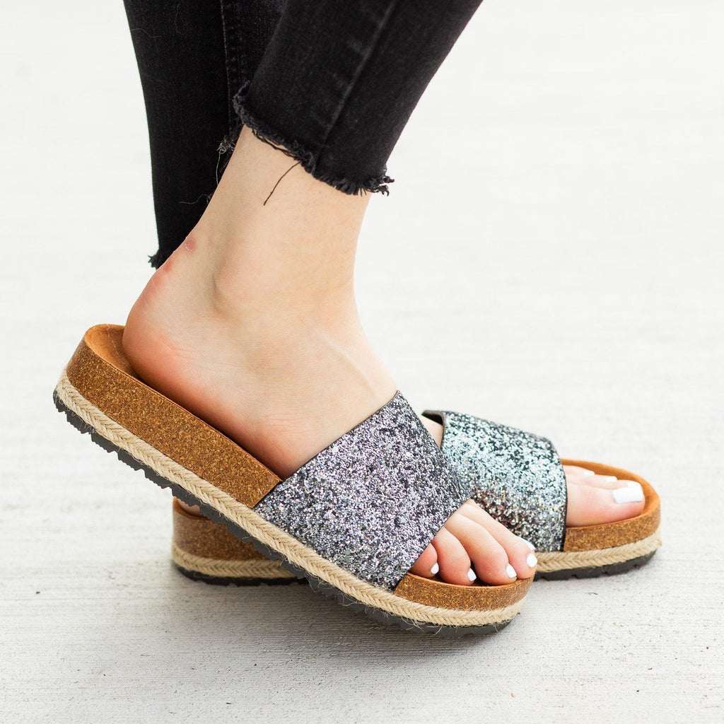 Womens Comfy Glitter Cork Slides - Anna Shoes