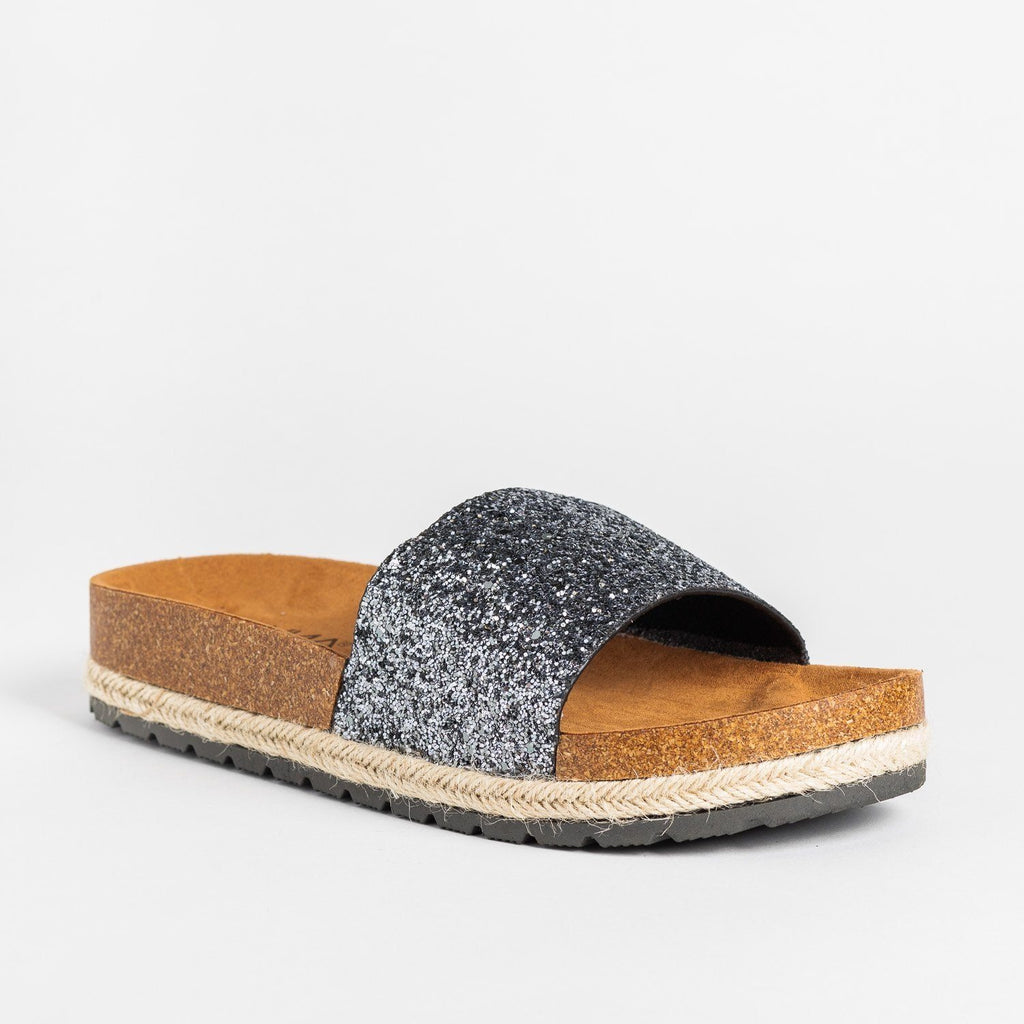 Womens Comfy Glitter Cork Slides - Anna Shoes - Black / 5