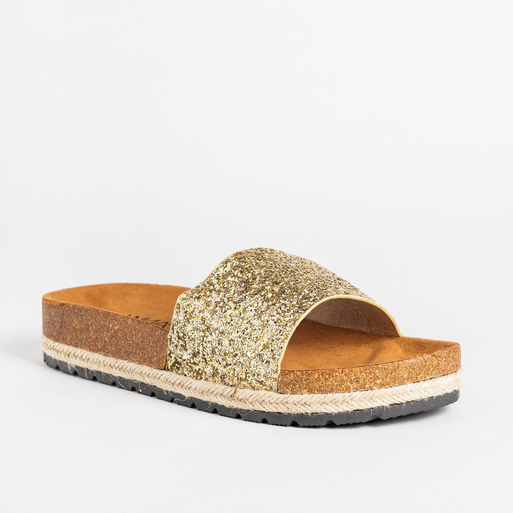 Womens Comfy Glitter Cork Slides - Anna Shoes - Gold / 5
