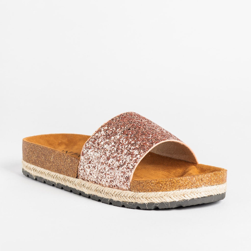 Womens Comfy Glitter Cork Slides - Anna Shoes - Rose Gold / 5