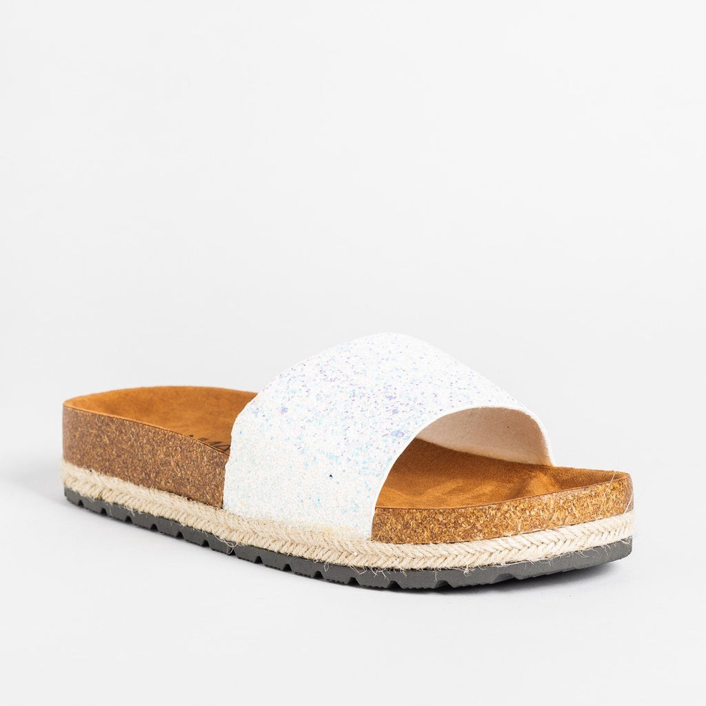 Womens Comfy Glitter Cork Slides - Anna Shoes - White / 5