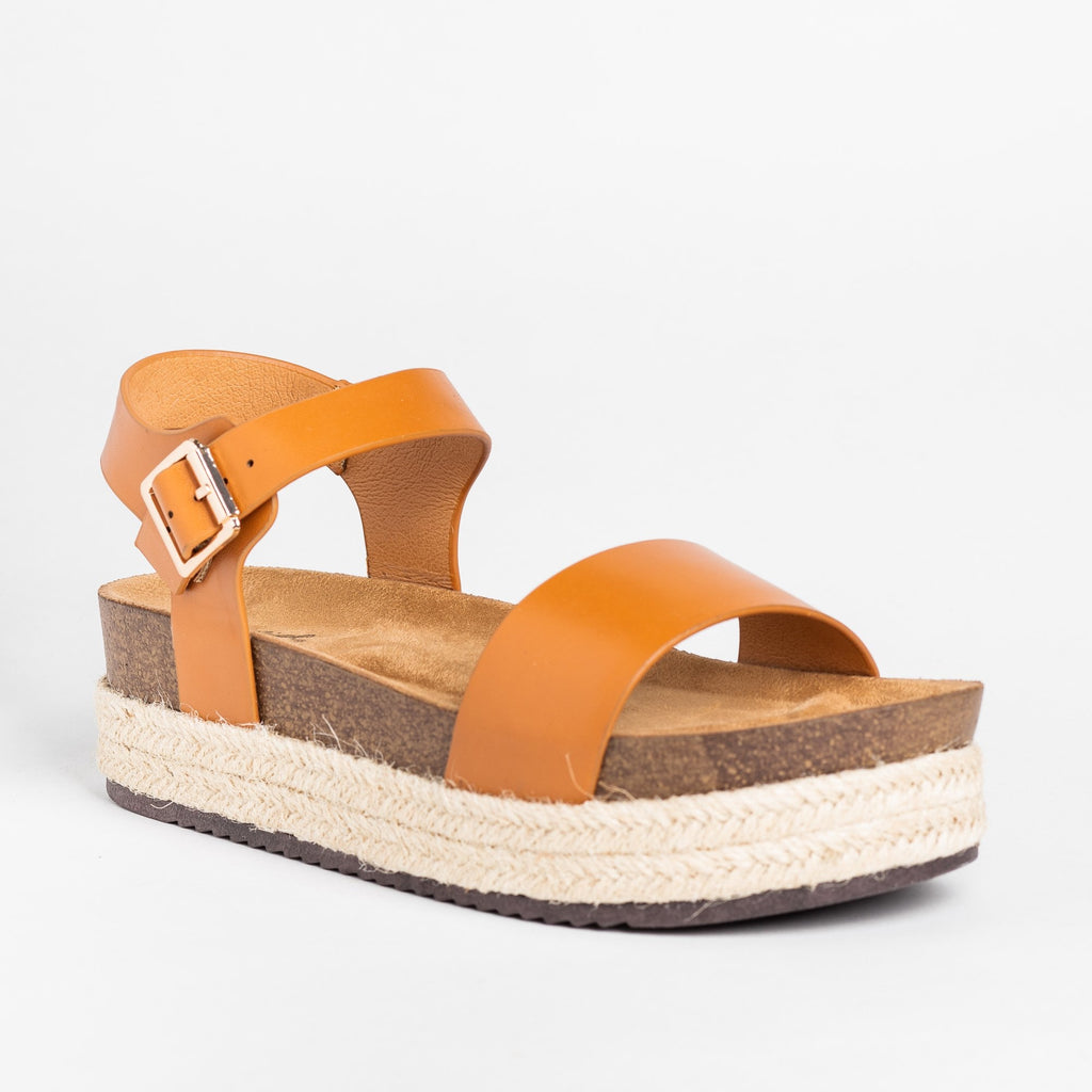 Womens Comfy Insole Espadrille Flatform Sandals - Qupid Shoes - Cognac / 5