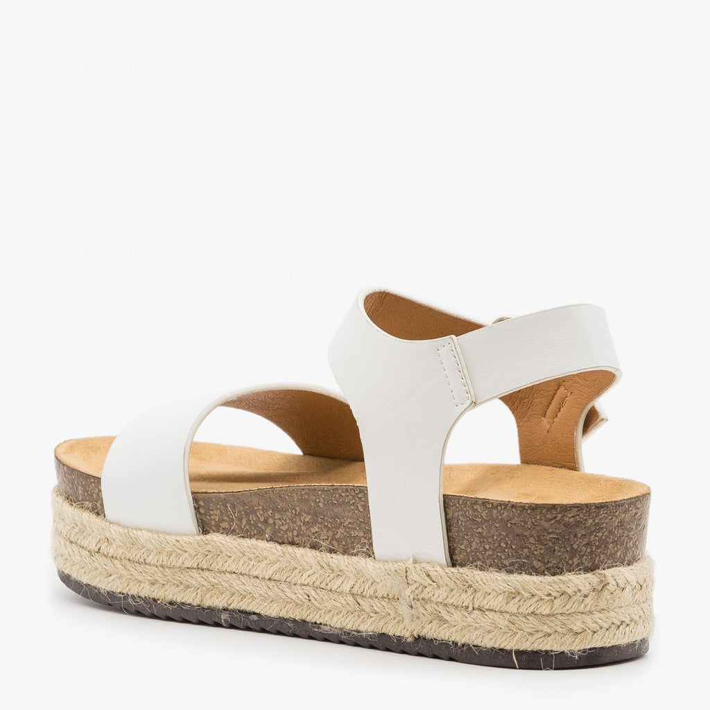 Women's Comfy Insole Espadrille Flatform Sandals - Qupid Shoes