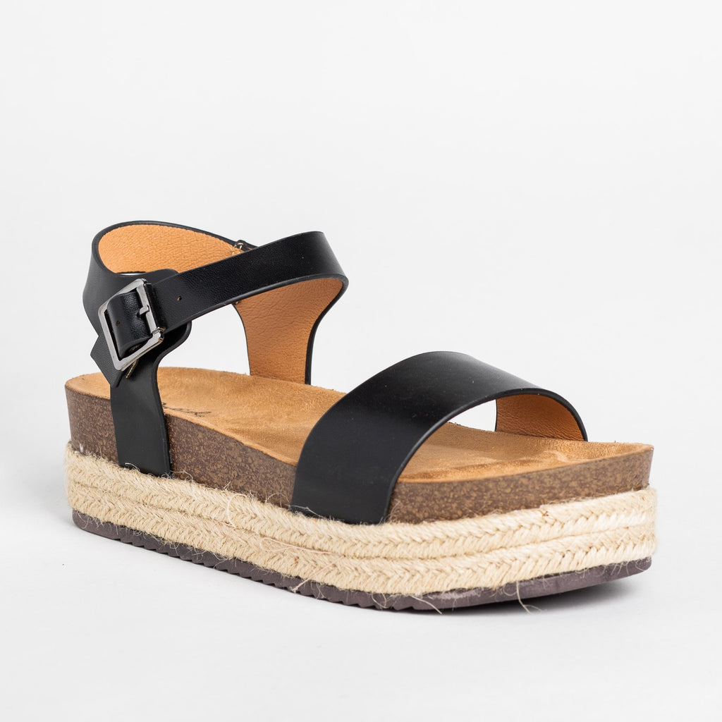 Womens Comfy Insole Espadrille Flatform Sandals - Qupid Shoes - Black / 5