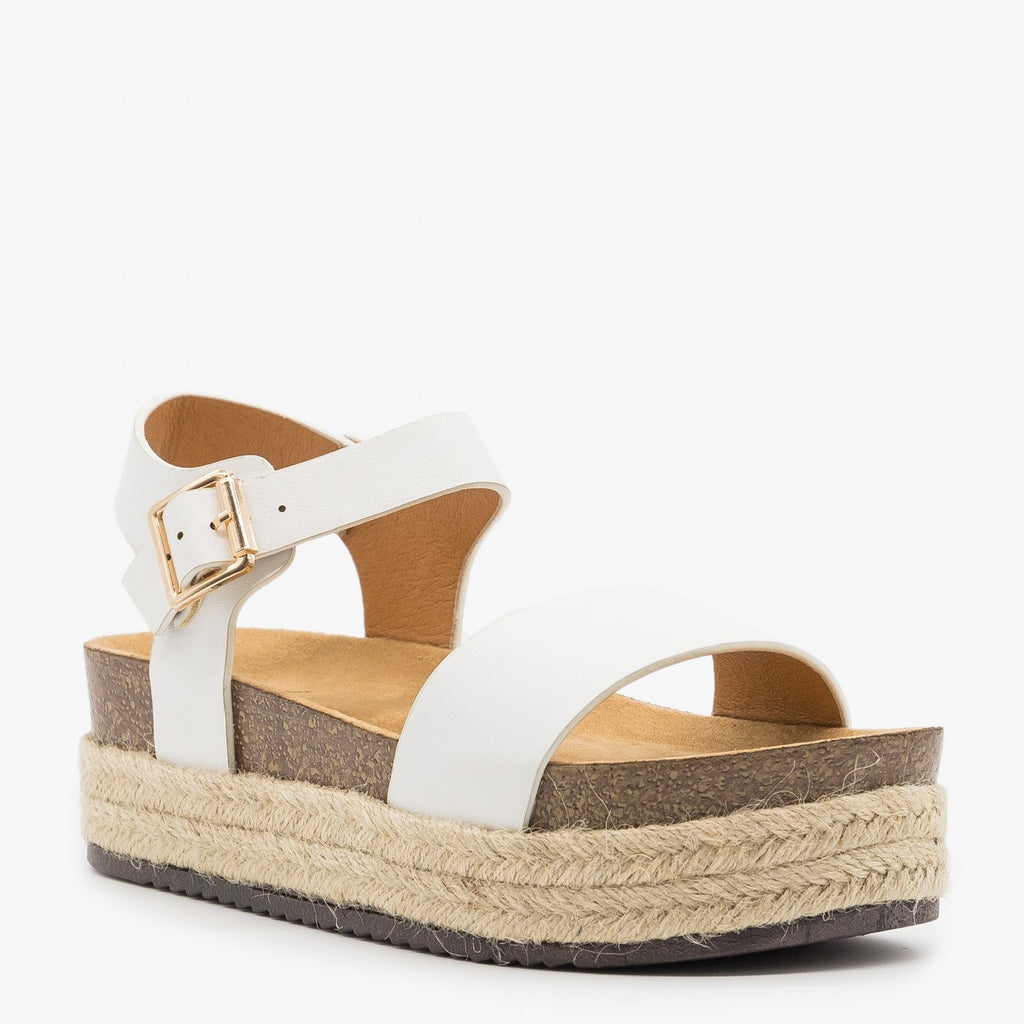 Women's Comfy Insole Espadrille Flatform Sandals - Qupid Shoes - White / 5