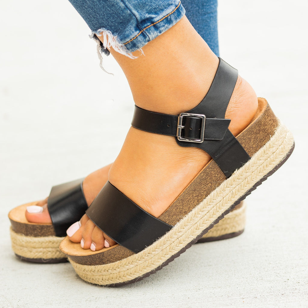 Womens Comfy Insole Espadrille Flatform Sandals - Qupid Shoes