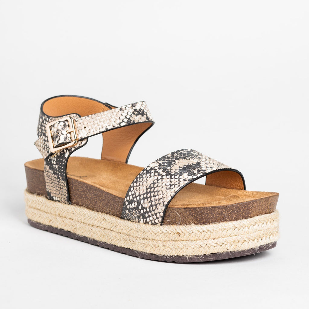 Womens Comfy Insole Espadrille Flatform Sandals - Qupid Shoes - Beige Brown Snake / 5