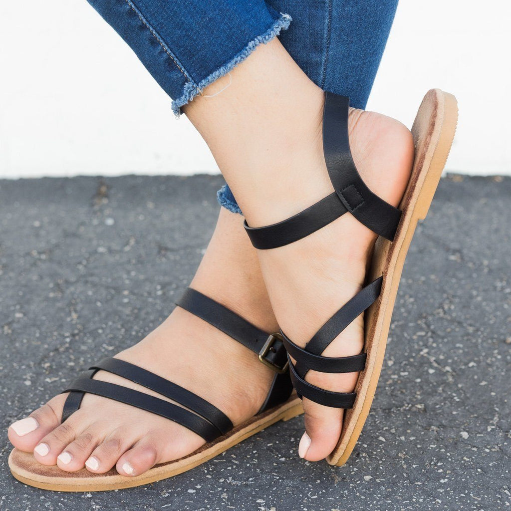 Womens Comfy Insole Strappy Sandals - Bamboo Shoes - Black / 5