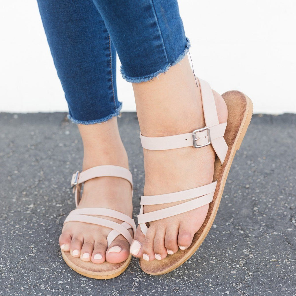Womens Comfy Insole Strappy Sandals - Bamboo Shoes - Blush / 5