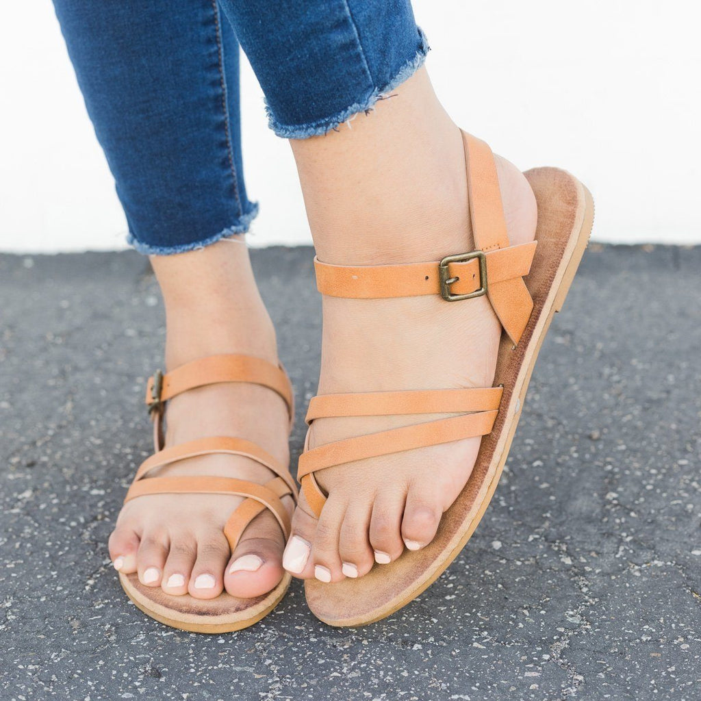 Womens Comfy Insole Strappy Sandals - Bamboo Shoes - Tan / 5