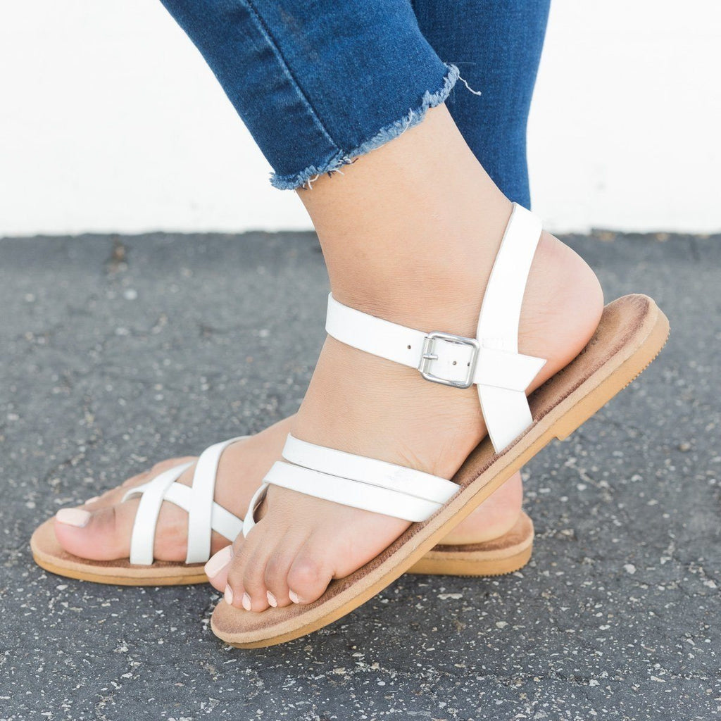 Womens Comfy Insole Strappy Sandals - Bamboo Shoes
