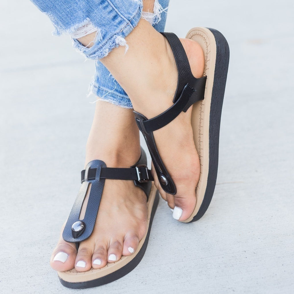 Womens Comfy Insole T-Strap Sandals - Bamboo Shoes - Black / 6.5