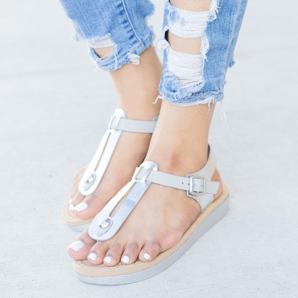 Womens Comfy Insole T-Strap Sandals - Bamboo Shoes - Silver / 9