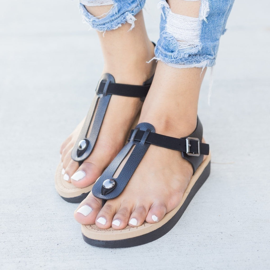 Womens Comfy Insole T-Strap Sandals - Bamboo Shoes