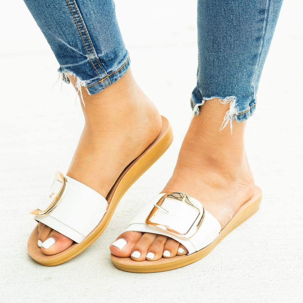 Womens Comfy Jumbo Buckle Slip-On Sandals - Cherish