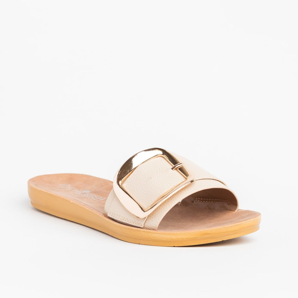 Womens Comfy Jumbo Buckle Slip-On Sandals - Cherish - Nude / 5