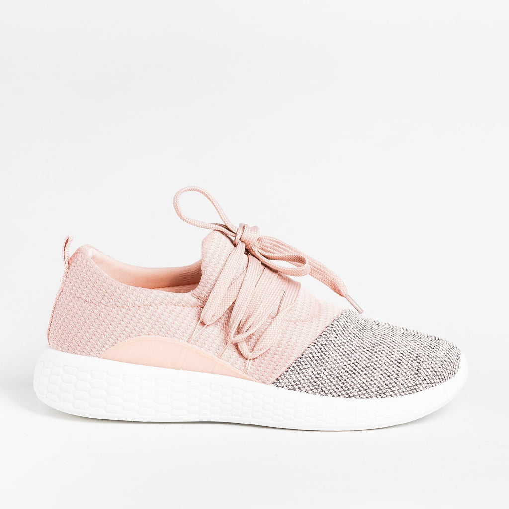 Womens Comfy Knit Athleisure Sneakers - Qupid Shoes - Pink / 5