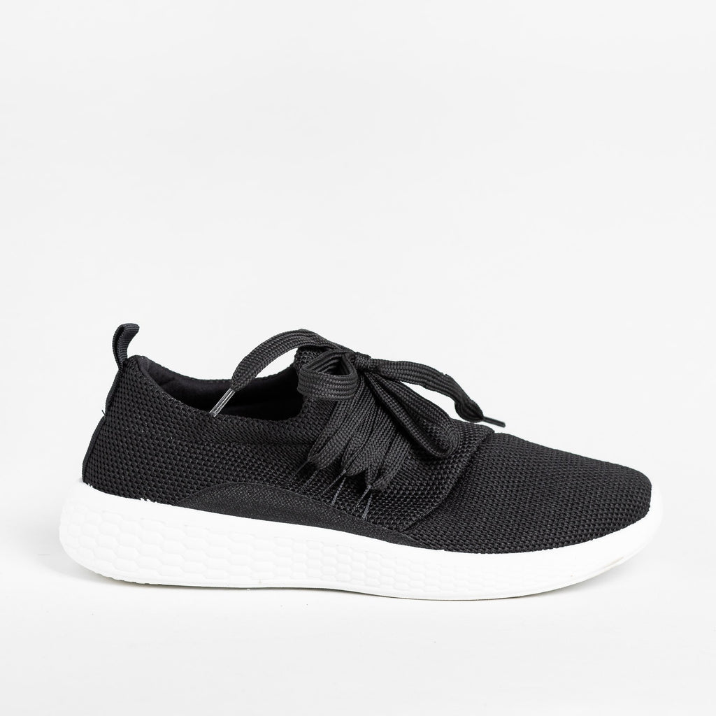 Womens Comfy Knit Athleisure Sneakers - Qupid Shoes - Black / 5