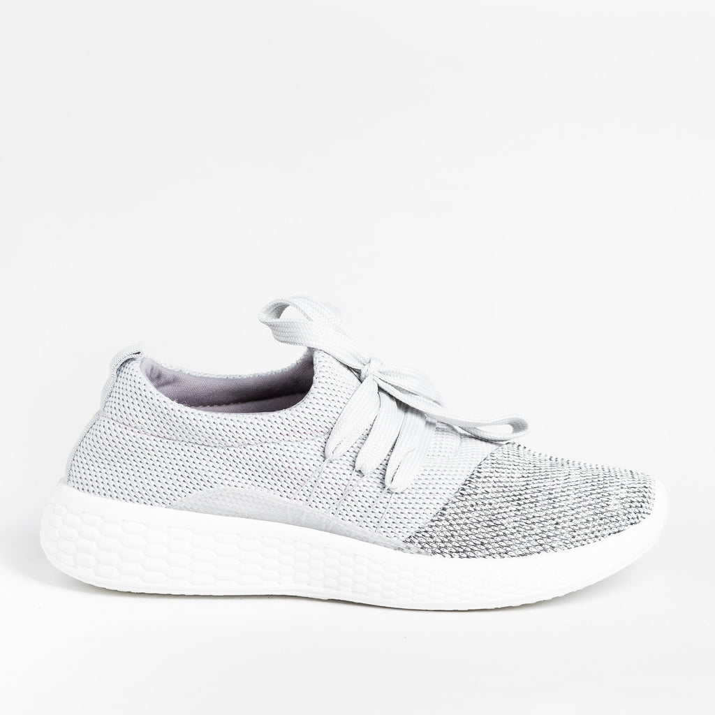 Womens Comfy Knit Athleisure Sneakers - Qupid Shoes - Gray / 5